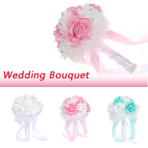Roses Wedding Bouquet Bridal Bridesmaid Holding Flower Artificial PE Rose Fake Pearls Bouquet Blue Marriage Wedding Supplies