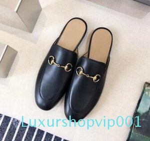 Hot Sale-luxury Designer women shoes embroidery women lazy slippers hasp horsebit buckle black Loafers Leisure shoes 777