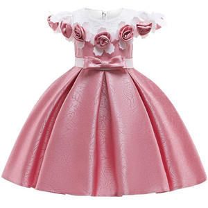 Baby Girl 3d Flower Silk Princess Dress For Wedding Party Abiti eleganti per bambini per bambini ragazza Abbigliamento moda J190520