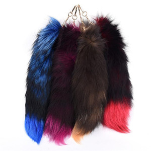 Fox Tail Fur Tassel Chaveiro Bag Tag Strap Car Keychain Pompom Charme Pendant Silver Buckle Phone Keyring Woman Gfit 4 cores