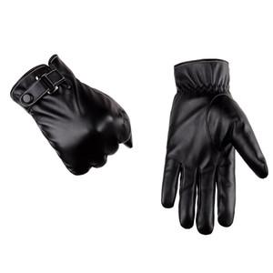 Fashion-Men зимы теплые перчатки ретро Утолщенные Кожа PU Сенсорные перчатки Плюшевые манжета на открытом воздухе противоскольжения перчатки для мужчин 210125