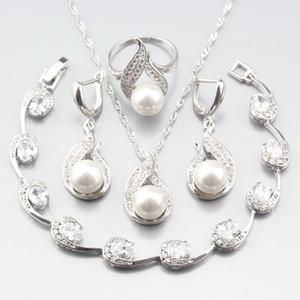 ewelry Zubehör Sonderpreis 925 silberne Frauen-Hochzeit Schmuck-Sets echte Perle-weiße Zircon-Ohrringe / Anhänger / Halskette / Ring / Br ...