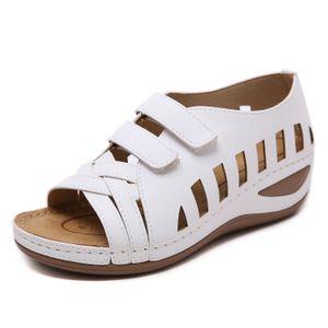 New Womens Retro 2020 Non-slip Women Shoes Plus Size 36-44 Beach Casual Black White Wedges 5CM Ladies sandals