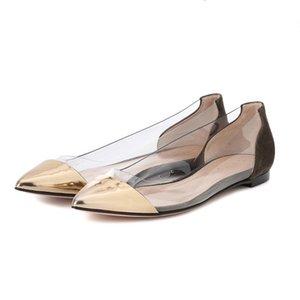 MHYONS metallo Scarpe a punta donne degli appartamenti 2020 Primavera Autunno Sides donne trasparenti Scarpe Mocassini dorata / d'argento Formato dei pattini 42