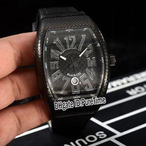 New Vanguard V45 Schwarz PXL Automatik Herren-Uhr-PVD Steel Black Texture Dial-große Zahl Marker Black Rubber Lederband Puretime E129b2