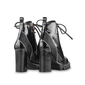 botas de cuero de las mujeres de 8 cm 1a2y7w Rastro de estrella popular de talón grueso negro cordones de los zapatos de cuero de lujo de goma suela de las botas de Martin
