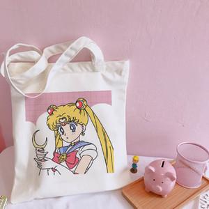 Japonés de Sailor Moon gran capacidad Harajuku Casual bolsos de hombro del Colegio tela escocesa del verano de lona elegante de dibujos animados ulzzang de las nuevas mujeres
