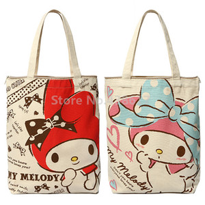 Kawaii My Melody Tuval Kadın Çanta Omuz Çantaları Büyük Çanta Sevimli Karikatür Tavşan Okul Kitap Kız Alışveriş Çantası T200408