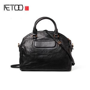 AETOO Shell bag, leather shoulder bag, women's slanted handbag, stylish set-up large-capacity soft leather slant bag