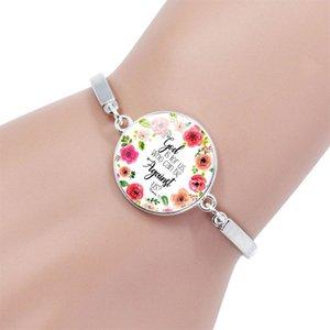 Verso de la biblia de cristal pulsera del encanto de bellas artes Dome Letters encanta las pulseras de la vendimia de los brazaletes de las Escrituras Wrap regalos de la joyería Cita para la Mujer