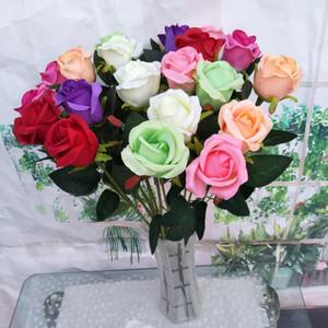 60CM fleurs artificielles Simulation Rose mariage Décoration Fleurs en soie Rose Bouquet unique tige florale Partie à la maison Real Touch Fleurs de faux