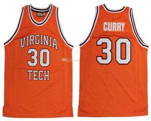# 30 Dell Curry Virginia Tech Hokies Collège Rétro Classique De Basket-Ball Jersey Mens piqué personnalisé nombre et nom Maillots