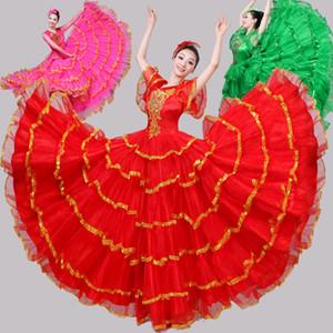 2019 tourada espanhola dance flamenco saia estilo de baile mulheres cetim dress cigano desempenho desgaste stage dança traje dm3043