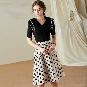 Skirt Set Women 2020 Spring Summer New V Neck Short Sleeve Stretch Knitted Short Top + Polka Dot Skirt Two Piece Set