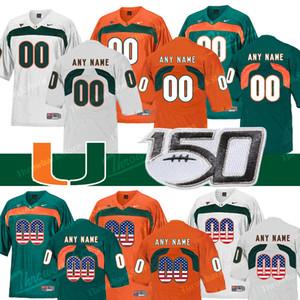 2019 Футбол Пользовательские Майами Ураганы 18 Tate Martell 15 Jarren Williams Любое имя Номер Зеленый Оранжевый Черный Белый Джерси