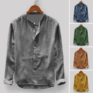 Mens Vintage Camicie Casual stand del tasto di collare manica lunga Camicie Pullover libero maschile Basic Plus Size