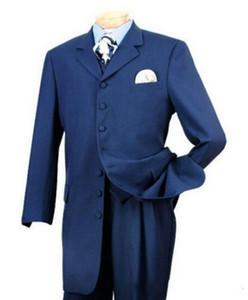 Blue Long Groom Tuxedos Noch Lapel Groomsmen Mens Wedding Dress Excellent Man Jacket Blazer 3 Piece Suit(Jacket+Pants+Vest+Tie) 1684