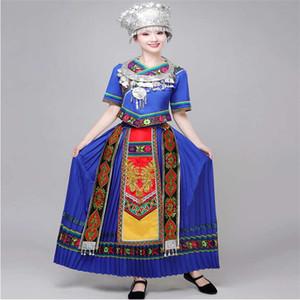 Miao Nationalität Kleidung Tibetische Tanz Kostüme Damen Ärmel Minderheits-Kostüm-erwachsene Bühne Wear Square Dance