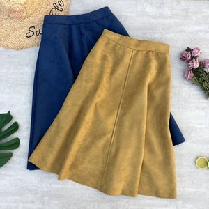 Skirts Womens Winter Suede Leather Skirt Patchwork Pu Leather Office Lady Stretched Elastic Waist A Line Knee Length Skirt