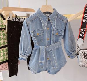 Meninas jeans vestidos crianças lapela de manga longa jeans ocasional vestido crianças única correia cowboy moda vestido menina queda breasted roupas F10291