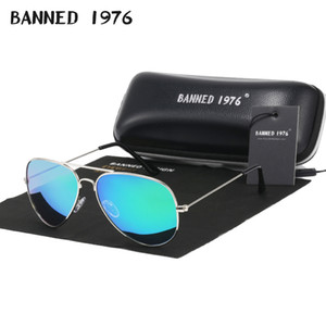 BANNED manera marco metálico polarizado 1976 Classic HD gafas de sol clásicas de diseño, mujeres, hombres feminin gafas vintage marca oculos