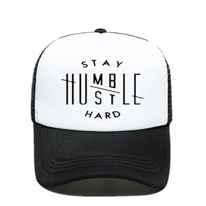 Novelty! Stay Humble Hustle Baseball Cap With Hard Letter Print For Dad, Fashion Mesh Caps For Men And Women, Hats With Bones And Claws