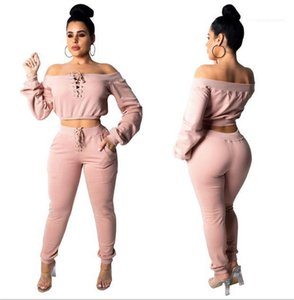 Slim 2 Piece Pants Solid Color Long Sleeved Pullover Tops Womens Fashion Tracksuits Slash Neck Womens Designer Tracksuits Sexy