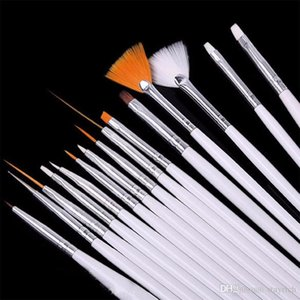 15 pcs Nail Art Brushes Decoration Brush Set Tools White Handle Painting Pen for False Nail Tips UV Nail Gel Polish Brushes