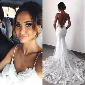 2020 Country Style Backless Lace Wedding Dresses Spaghetti sereia Layers Appliqued Boho vestidos de noiva BC0129