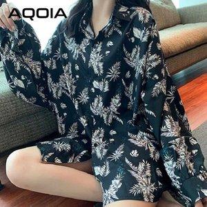 AQOIA koreanischen Stil Blumendrucken Frauen langes Hemd lose Flügel-Hülsen-Button Up Damen Bluse 2020 Plusgrößen-weibliche T-Shirts