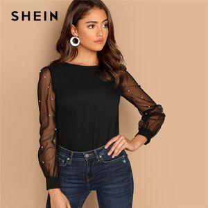 SHEIN moderne Lady Black Pearl perlée en filet manches col rond uni Top femmes Streetwear Automne Minimaliste Chemisier élégant