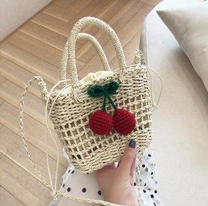 Lujo diseñador de los bolsos monederos mujeres cereza paja Bolsas preciosas niñas Mar Beach Holiday Bolsa de hombro Bolsas