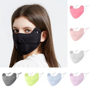 DHL Shipping Ice Silk Sunscreen Mask Breathable Anti-Ultraviolet Hanging Ear Type Adjustable Nose And Eye Protection Outdoor Masks L364FA