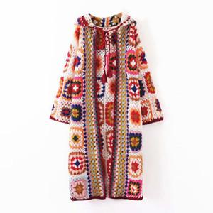 2020 long cardigan automne boho automne pull en tricot garçonnets floral ethnique hiver pull femme Mohair gitane manches longues Cap-vêtement