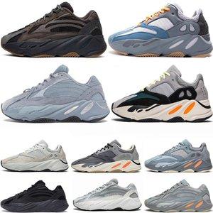 2020 Kanye West 700 Karbon Mavi Womens Sport Sneakers Mıknatıs Atalet V2 Tephra Dalga Runner Statik Siyah kutusuyla Koşu Ayakkabıları