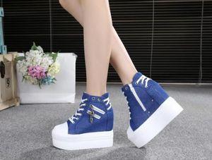zapatos casuales de espesor inferior alto talón estupendo aumentar los 12CM los zapatos de las mujeres de la lona del mollete del zapato con cordones zapatos de cuña estudiantes sola marea