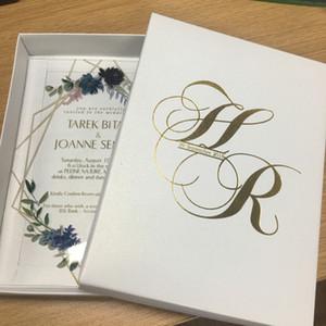 뜨거운 판매 좋은 품질 개인화 좋은 꽃 아크릴 결혼식 호의 초대 카드 레이스 멋진 인쇄 초대장 저렴한 가격