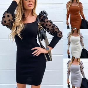 Модные Женские Твердые Сексуальные Сетки Sheer Dot Puff С Длинным Рукавом Bodycon Slim Ladies Evening Party Mini Dress