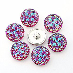 50pcs lot Six color Round resin ginger snaps Round glass snaps Bracelets fit 18mm snaps buttons jewelry