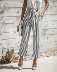 Palazzo delle nuove donne ufficio a vita alta gamba larga banda Culottes giovane lungo Pantaloni Casual Comfort Pants