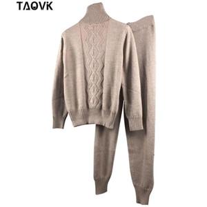 TAOVK Kadın Kış Yünlü Kumaş ve Kaşmir Örme Suit balıkçı yaka kazak ve Pantolon İki Parça Set örme Kostüm