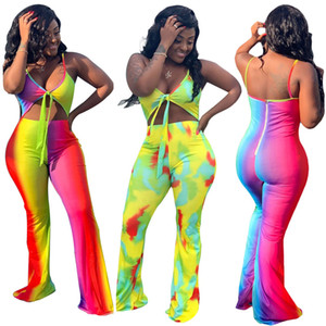 Womens Designer Contraste Couleur Contraste Tenues Mode couleur barboteuses Sexy Backless Top Casual Pantalon large jambe femelles Vêtements
