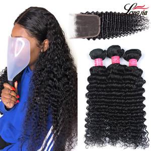 Wholseale Бразильские Глубокие Волосы 3 Пучки С Закрытием 8А Бразильские человеческие волосы С Закрытием 4x4 Необработанные Бразильские глубокие Наращивание Волос
