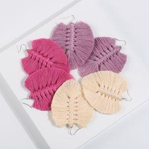 Bohemian Doces coloridos Macrame Brincos criativa Mão Tecidos Cotton Tópico franjada Brincos Mulheres Ethnic Dangle Earring Jewelry Drop Shipping
