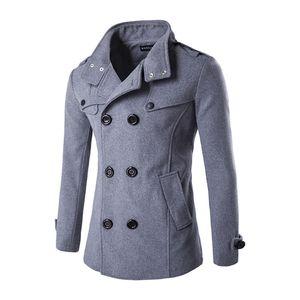 Осень зима мода Мужская шерстяное пальто двубортные пальто мужчин Повседневный Черный Верхняя одежда Куртка мужская Blends Плюс размер 3XL