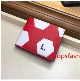 Football Genuine Leather Women Mens Wallets Short Red Card Holders Money Bag Sports Fahshion lady gentleman Wallets Designer Free shipping