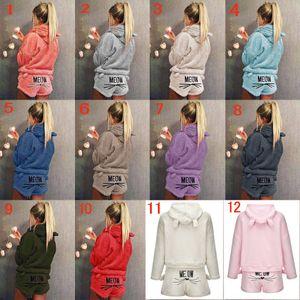 bordado gato invierno de las mujeres de la felpa de la manga de dos piezas ropa de casa largos adaptarse bordado pijamas pijamas