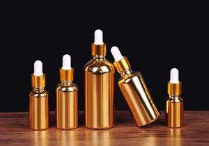 الزجاج الذهب بالقطارة زجاجة 50ML 100ML العطور الأساسية النفط زجاجة مطلي مع غطاء الألومنيوم الذهب