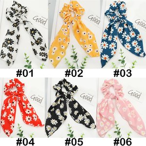 6 colors Girl Daisy Printed headband Horsetail hair Rope Elastic Floral bowknot hair bands Girls hair ribbon Tie accessories FJJ327