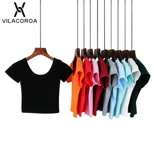 VILACOROA bester Verkauf Harajuku U Neck Frauen-T-Shirt Sexy schwarze kurze Hülse Crop Top Stretch Frauen-Shirt T Tops ropa mujer T200610